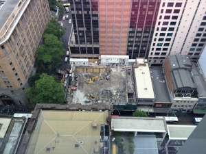 Photo taken from the Perpetual building showing the demolition of the site.